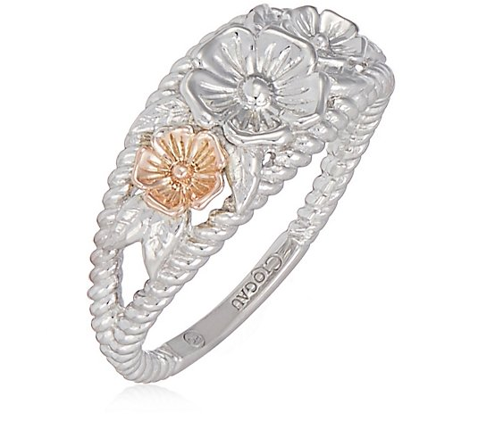 Clogau Secret Garden Wide Band Flower Ring Sterling Silver