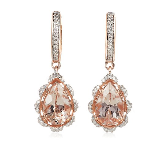 2.50ct Morganite 0.25ct Diamond Estate Collection Drop Earrings 14ct Rose Gold