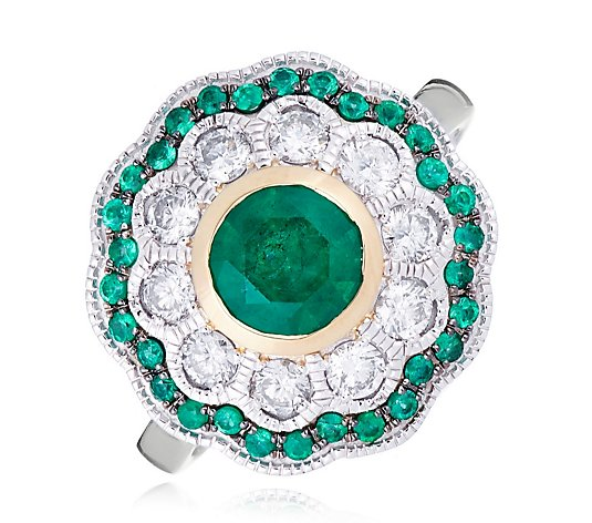 1.15ct Emerald & 0.50ct Diamonds Estate Collection Ring 14ct Gold