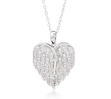 Diamonique 0.6ct tw Angel Wing Locket Pendant & Chain Sterling Silver - 323995
