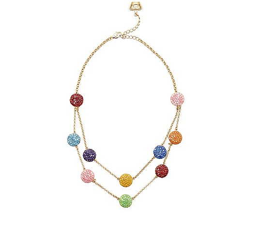 Butler & Wilson Two Row Crystal Discs 42cm Necklace