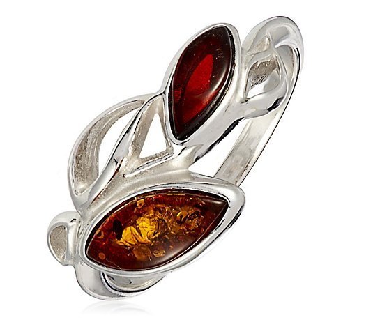 Amber Jewellery Designs 2 Stone Ring Sterling Silver