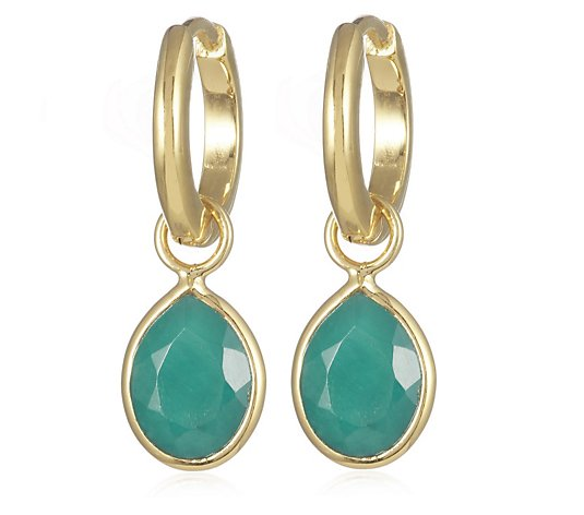 2.20ct Emerald Drop Hoop Earrings Sterling Silver