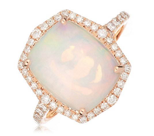 3.25ct Ethiopian Opal Cushion Cut & 0.37ct Diamond Ring 14ct Gold