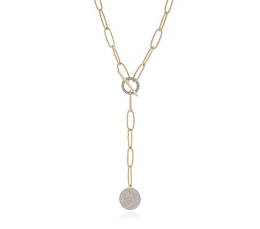 K by Kelly Hoppen Lariat 53cm Necklace with Pave Enhancer Sterling Silver