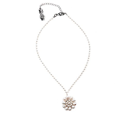 Butler & Wilson Flower Pearl Strand 43cm Necklace