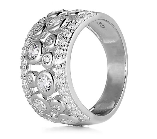Diamonique 0.9ct tw Bezel Set Ring Sterling Silver