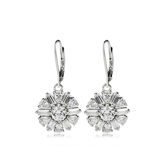 Diamonique 5.5ct tw Flower Leverback Earrings Sterling Silver