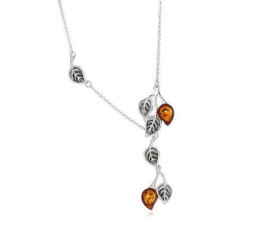 Amber Jewellery Designs Leaf Drop 43cm Necklace Sterling Silver
