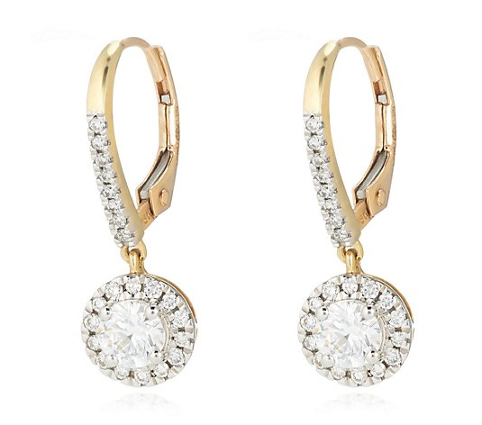 1.00ct H SI2 Fire Light Lab Grown Diamond Halo Drop Earrings 18ct Gold