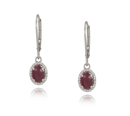 0 15ct Ruby Leverback Earrings 18ct Gold