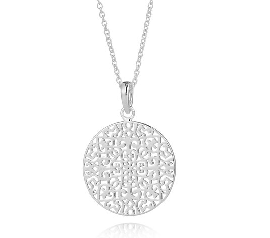 K by Kelly Hoppen Capri Collection Filigree Disc 60cm Necklace Sterling Silver