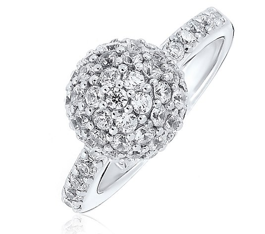 Diamonique 1.8ct tw Pave Ball Ring Sterling Silver