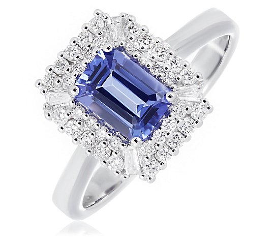1.00ct AAA Certified Tanzanite 0.35ct Diamond Ring 14ct Gold