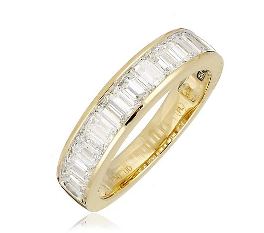 1.65ct H SI2 Fire Light Lab Grown Diamond Emerald Cut Channel Ring 18ct Gold