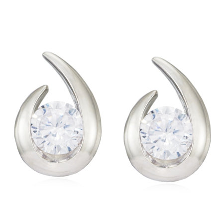 Diamonique 1ct tw Wrap Stud Earrings Sterling Silver
