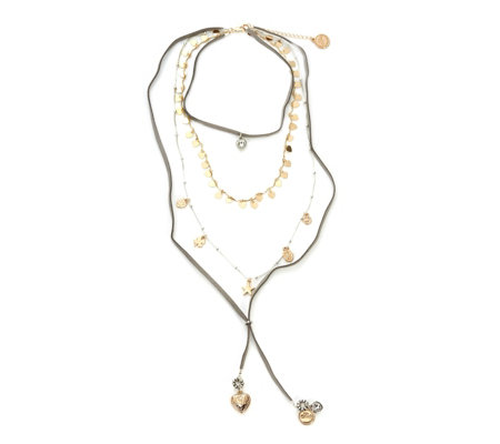 Bibi Bijoux Triple Layer Leather 78cm Necklace