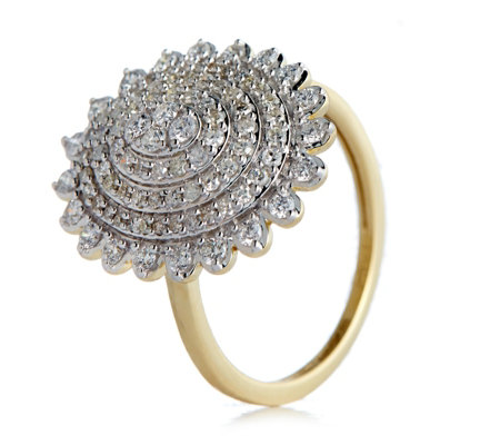 0.75ct Diamond Cluster Ring 9ct Gold
