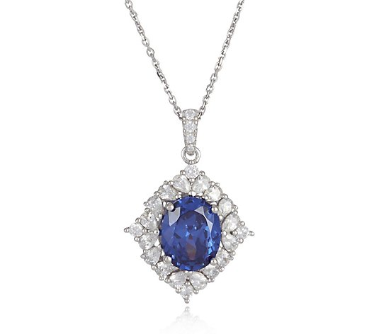 Diamonique 5ct tw Simulated Tanzanite Pendant & Chain Sterling Silver