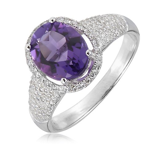 3.00ct Choice of London Blue Topaz or Amethyst & 0.47ct Diamond Pave Ring