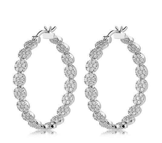 Escape by Melissa Odabash Pave Circle Hoop Earrings Sterling Silver