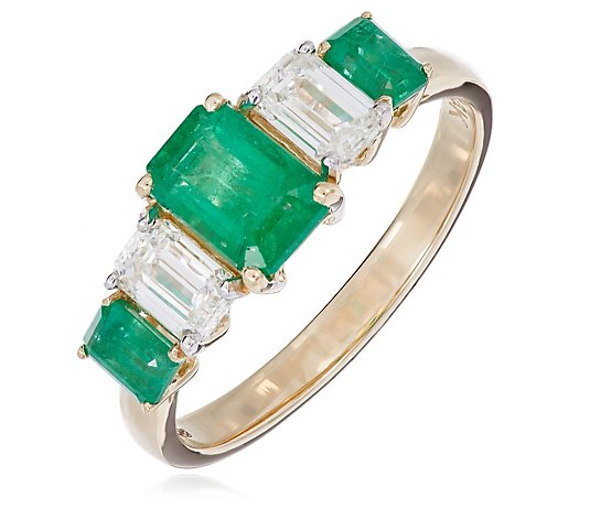 1.30ct Zambian Emerald Octagon 0.75ct Diamond Ring 14ct Yellow Gold
