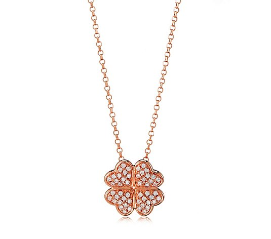 Charlie Brook for Diamonique 0.2ct tw Heart Clover Pendant & Chain