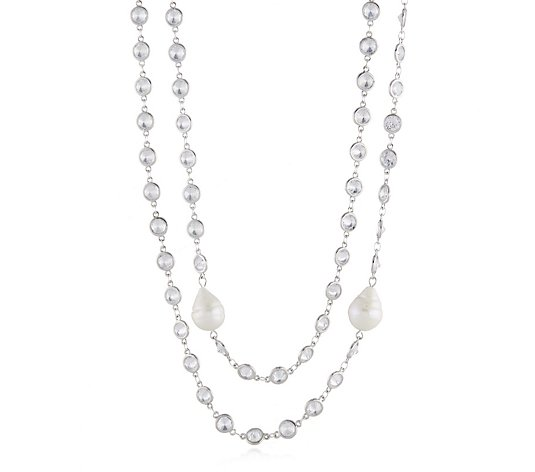 Butler & Wilson Long Crystal Chain Necklace 2 Baroque Pearls