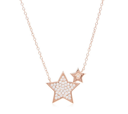 Diamonique 0.6ct tw Double Star Pendant & Chain Sterling Silver