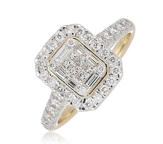1.00ct Diamond Mixed Cut Rectangular Halo Ring 9ct Gold