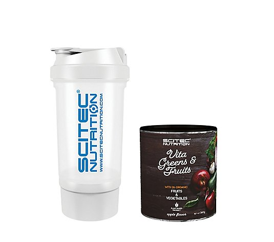Scitec Nutrition Vita Greens & Fruits Apple Flavour Shake & Bottle