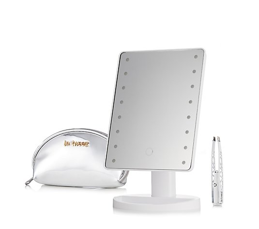 La Tweez Hollywood Style Mirror with LED Tweezers & Bag Pro Collection
