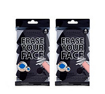 Danielle Creations Set of 2 Packs of 4 Erase Your Face Cleansing Cloths - 401849