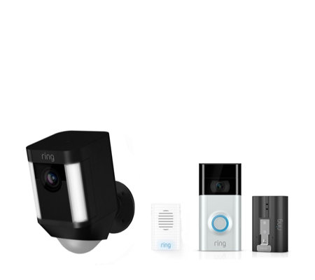 Ring Video Doorbell 2 & Spotlight Cam w/ Extra Battery & Chime - QVC UK