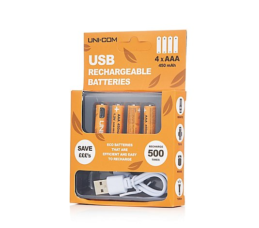 Uni-Com USB Rechargeable AAA Batteries 4 Pack