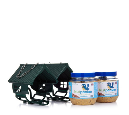 Set of 2 Nut Pecker Bird Feeders & 2 x 330g Peanut Butter Bird Food Jars