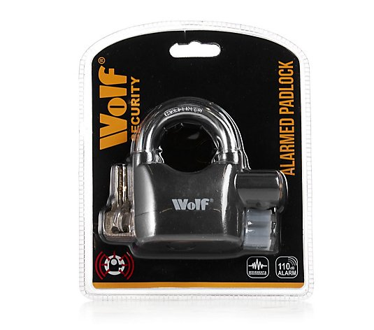 Wolf Alarmed Padlock with 3 Keys & Spare Batteries