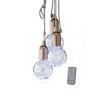 Set of 3 Metallic Water Resistant Pull Cord Lightbulbs with Remote Control - 514814