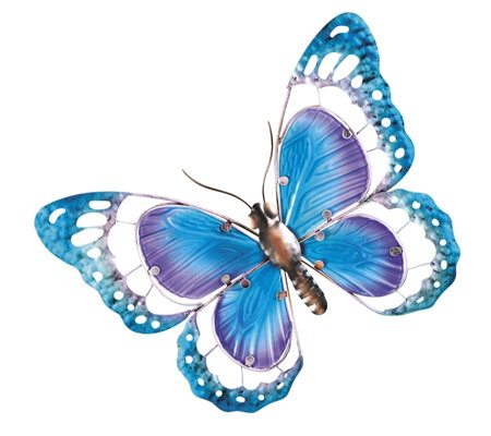 Garden Gear Metal And Glass Butterfly Wall Art Qvc Uk