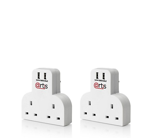 Set of 2 Twin Plug Socket Adaptors with Twin USB sockets