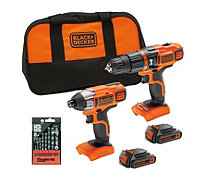 Black & Decker 18V Combi Drill & Impact Driver with 2 Batteries & Accessory Kit - 509821