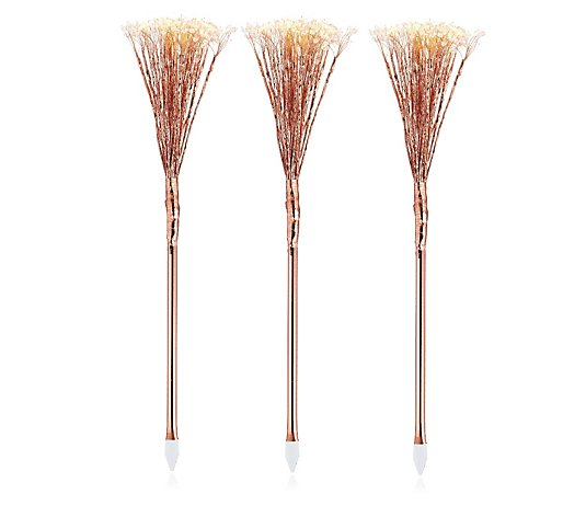 Garden Reflections Mains Operated Set of 3 Indoor/Outdoor Beaded Stakes