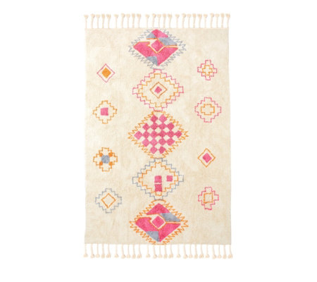 Edited by Erica Davies Hand Woven Geometric Style Tassled Rug