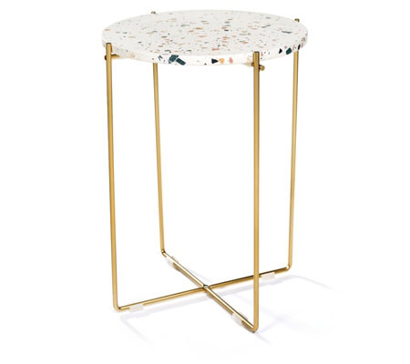 Edited by Erica Davies Terrazzo Table with Gold Legs