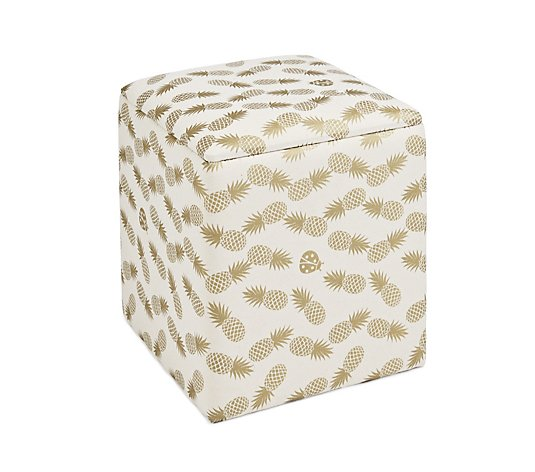 BundleBerry by Amanda Holden Foil Printed Pineapple Square Stool