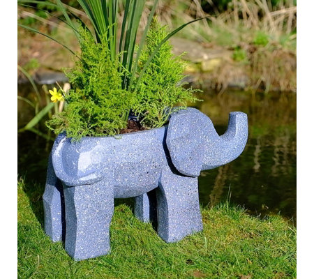 Jennings Stone Effect Elephant Planter