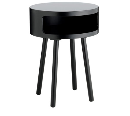 Habitat Bumble Black Side Table with Storage Shelf