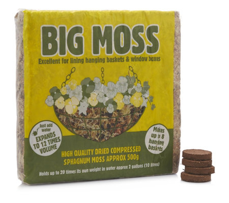 Babyllon Big Moss & 4 x Micro Nutrient Biscuits for Baskets Pots & Containers