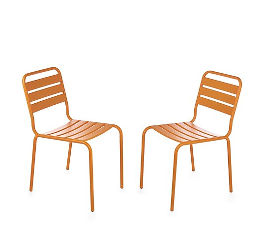 Edited by Erica Davies Set of 2 Steel Outdoor Bistro Chairs