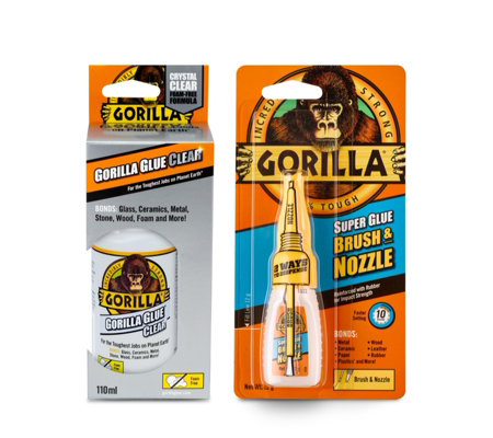 Gorilla Glue Clear 110ml & Superglue Brush & Nozzle